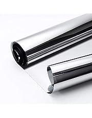 Rabbitgoo Vinilo Ventana Lámina de Espejo Plata Protector Solar Privacidad para Ventana Autoadhesivo Vinilo para Ventana Espejo de Una Dirección Espejo de Gran Reflexión Anti 99% UV de Control Solar