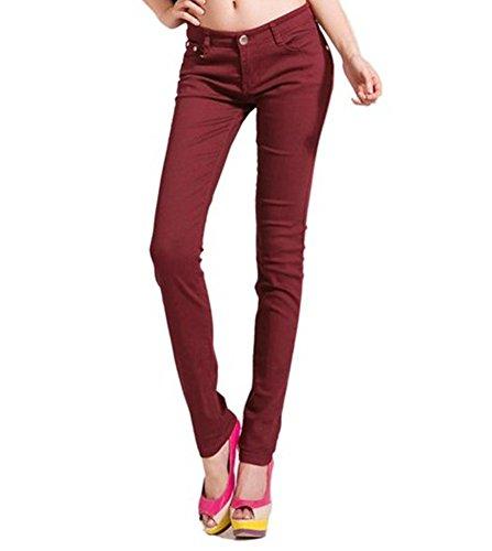 Benibos Women's Skinny Jeans (M, Burgundy)