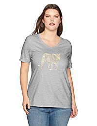 Just My Size Womens Plus-Size Plus Printed Short-Sleeve V-Neck T-Shirt