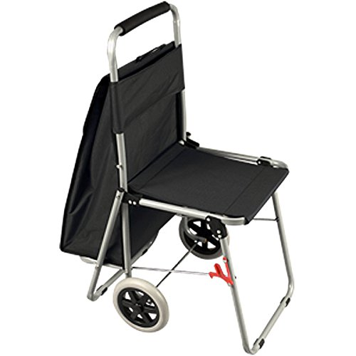 The ArtComber Folding Big Wheeled Portable Rolling Chair / Art Cart With Storage - Black (Black Painting Chairs)