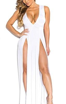 Womens Bandage Side Split V Neck Sleeveless Bodycon Clubwear Maxi Vest Dress