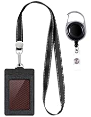 Life-Mate Badge Holder - Leather ID Card Holder Wallet Case with 3 Cards Slot and Neck Lanyard/Strap. Additional Retractable Badge Reel with Belt Clip (Black, Linen Finish)