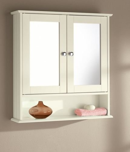 Bon New England White Wood Double Mirrored Bathroom Wall Cabinet