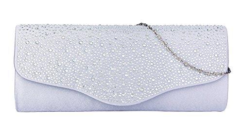 clasichic - Cartera de mano de Satén para mujer plata