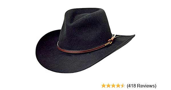 6f7ca8e6 Amazon.com: Stetson Men's Bozeman Wool Felt Crushable Cowboy Hat -  Twboze-813007 Black: Clothing