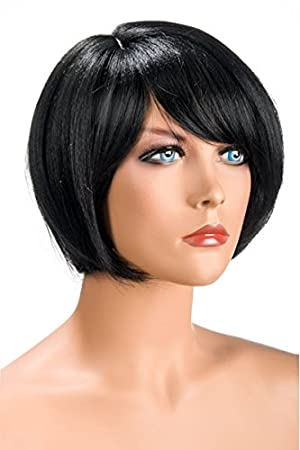 World Wigs Perruque Brune Carré Court Frange Amazon Fr