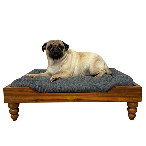 828 Pet Supplies | Medium Orthopedic Memory Foam Dog/Pet Bed – Acorn Style – Raised Dog Bed – Carved Legs – Stain…