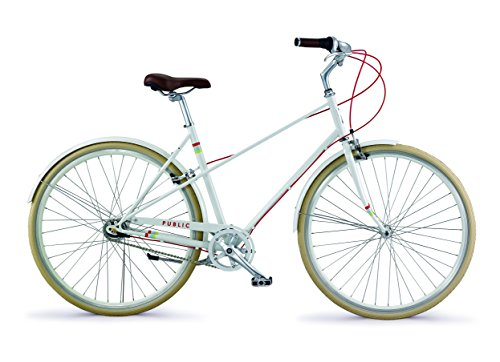 "PUBLIC Bikes M7i Mixte Style Step-Over City Bike, 18.5""/Small, Cream"