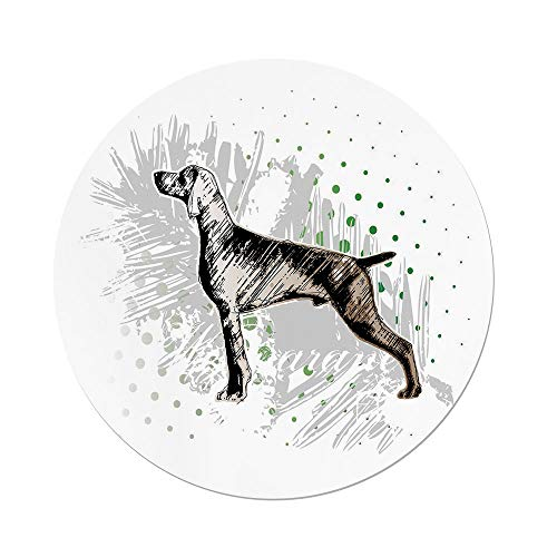 iPrint Polyester Round Tablecloth,Hunting Decor,Sketch Weimaraner Dog Canine on Grungy Abstract Backdrop Artwork Decorative,Black Grey Green,Dining Room Kitchen Picnic Table Cloth Cover Outdoor Indoo