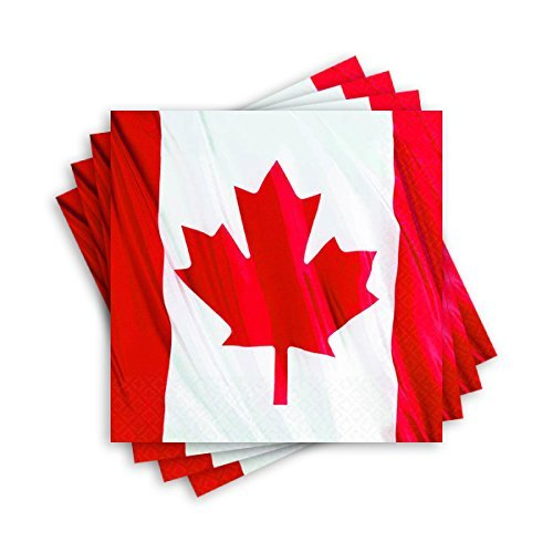 Waving Canadian Flag Beverage Napkins Patriotic Party Disposable Tableware, 2-ply, Paper, 5 x 5 (Party Pack: 108 Count)