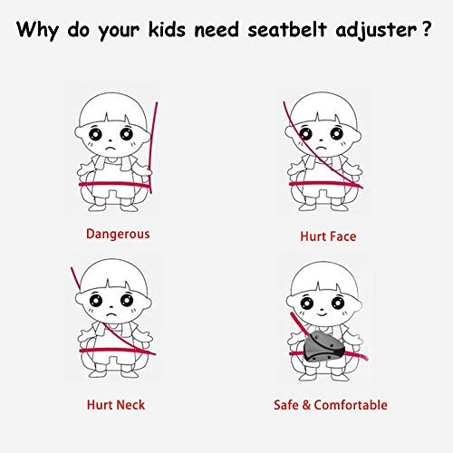 Seat Belt Adjuster and Pillow with Clip for Kids TravelSoft Neck Support Pillow