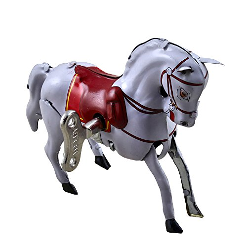 Metal White Circus Horse Cute Walks Vintage Tin Toys Collectibles (Toys For Antique Sale)