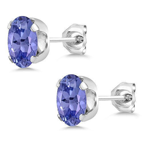 2.32 Ct Oval Blue Tanzanite 925 Sterling Silver Pendant and Earrings Set by Gem Stone King (Image #3)
