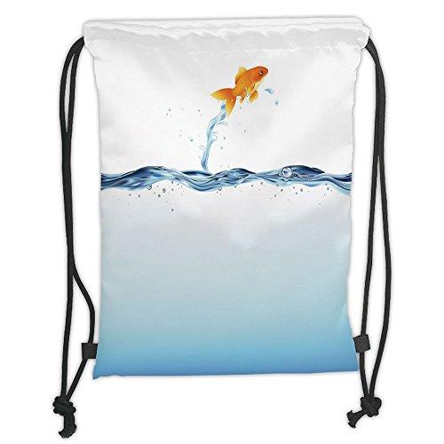 Custom Printed Drawstring Sack Backpacks Bags,Aquarium,Little Goldfish Leaping Out Of Water Bravery Challenge Freedom Theme Decorative,Blue Light Blue Orange Soft Satin,5 Liter Capacity,Adjustable Str (Leaping Fish Water)