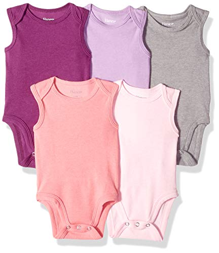 Hanes Ultimate Baby Flexy 5 Pack Sleeveless Bodysuits (Tanks), Purple/Pink, 12-18 Months