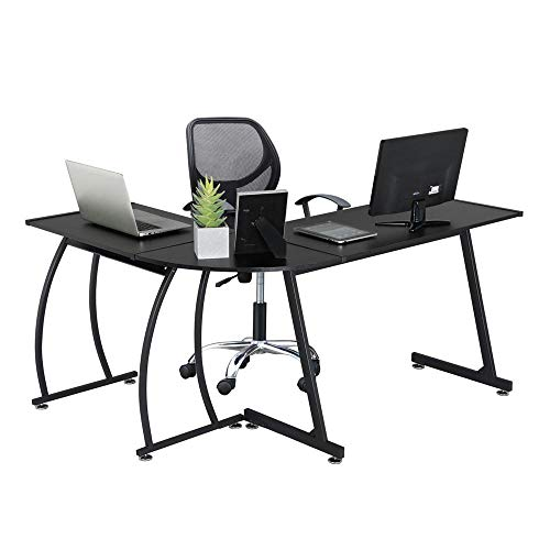 - Yaheetech L-Shaped Corner Computer Office Desk, Wood Writing Studying Table with Round Corner, Large PC Laptop Workstation, 3-Piece Modern Desk Black