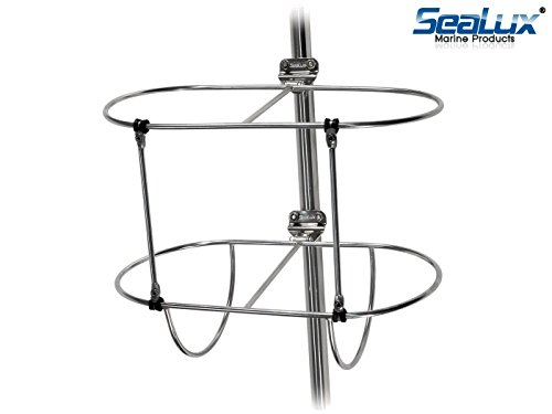 SeaLux Marine Solid Stainless Steel Double Fender Holder in Various Size (Up to 7