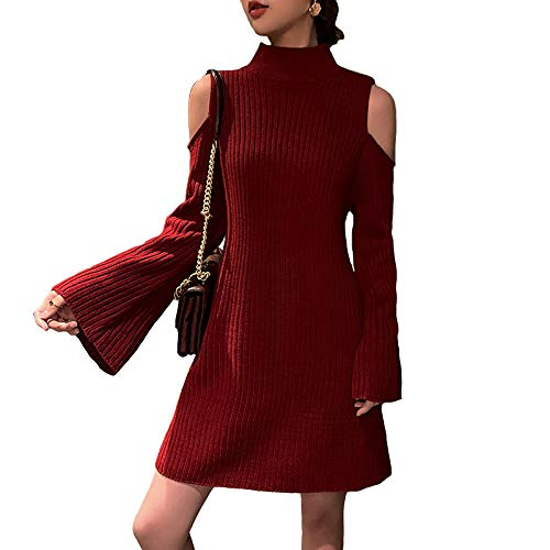 Trompeta Descubiertos Nuevo Para De Gzz s Mangas 2019 Falda Mujer Rojo Hombros Vestido Versátil Corta Punto Delgado XpA0U