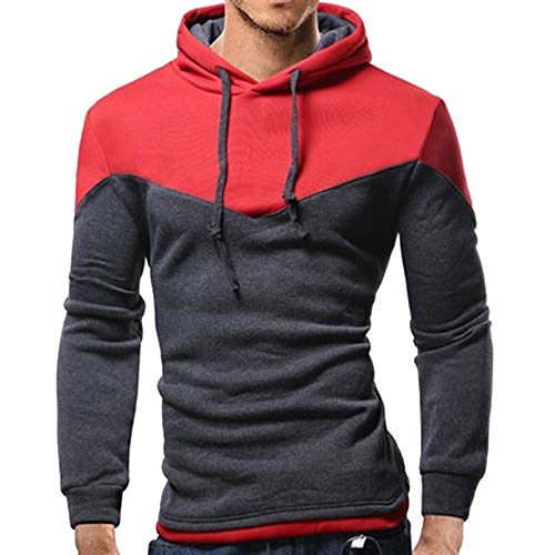NRUTUP Men's Full-Zip Hooded Fleece Sweatshirt Colorblock Hoodie Long Sleeve Top Blouse, Cheap!(Dark Gray,M)