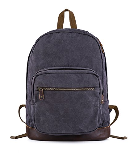 Gootium Canvas Backpack with Leather Trim, Unisex College Rucksack
