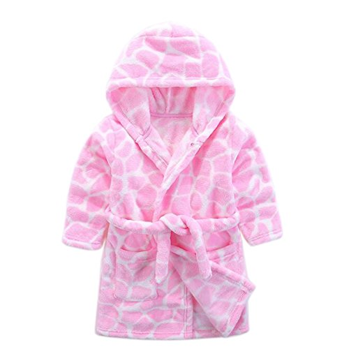 Flannel Kids Robe (JIANLANPTT Cute Animal Pattern Boys Girls Hood Bathrobes Soft Warm Kids Flannel Sleepwear Robes Pink 2-3years)