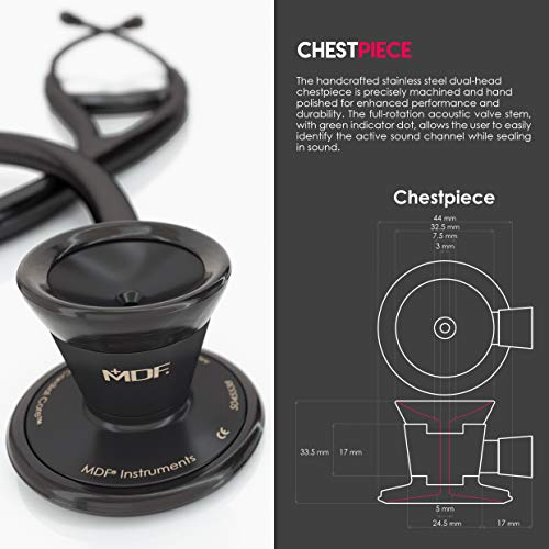 MDF Classic Cardiology Dual Head Stethoscope - with Stainless Steel Chestpiece and Headset - BlackOut (MDF797-BO)