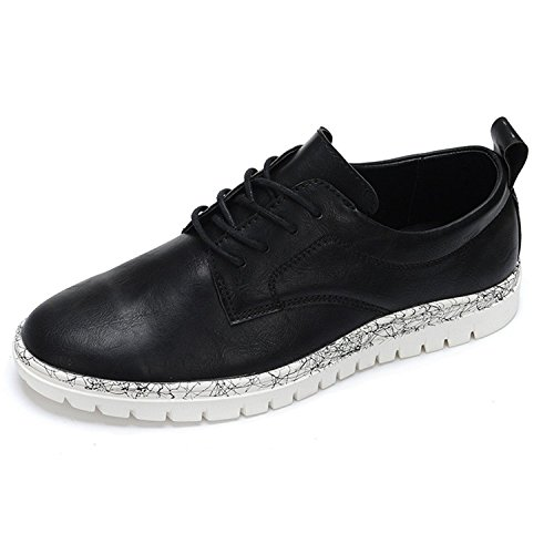 Ainrving Men's Casual Lace Up Oxfords Round Toe Leather Dress Shoes Black6.5 D(M) - Uk Airport Locations