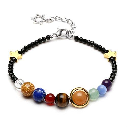 CrystalTears Solar System Link Bracelet Universe Galaxy The Nine Planets Guardian Star Healing Jewelry-Black Beads Black Solar Bracelet