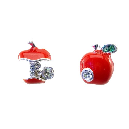 Price comparison product image DaisyJewel Red Snow White Asymmetrical Apple Stud Earrings