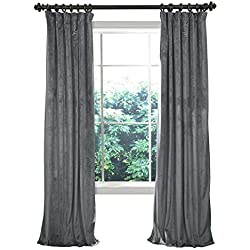 cololeaf Home Theater Movie Blackout Lined Velvet Christmas Curtain Panel Drapes,Flat Hooks - Natural Grey 50W x 96L inch (1 Panel) for Concert Stage Hall Club,Party backdrops,Wedding backdrops