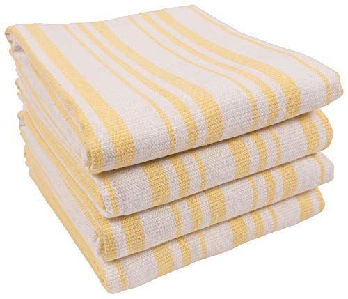 (KAF Home York Casserole Stripe Reversible Terry Cloth Kitchen Towels | Set of 4 100% Cotton Absorbent and Function Kitchen Utility Towels - Sunshine Yellow)