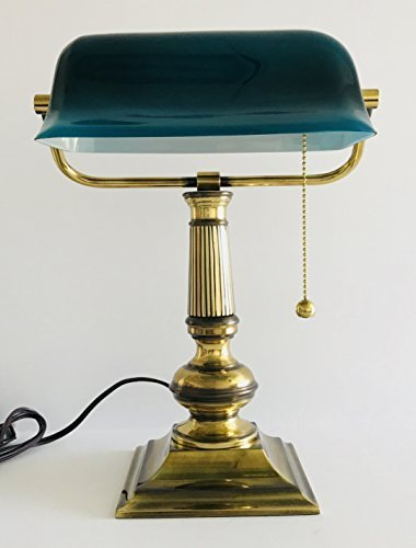 Classic Style | Antiqued Brass Finish with Square Base | Banker's Lamp with Deep Green/Blue Glass Shade | 14 inches Tall x 10.5 inches Wide x 9 inches