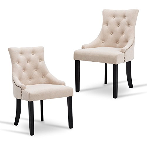 New retail global Tufted Dining Chairs Accent Chair Dining Room Set of 2 Fabric Upholstered Leisure Padded Armrest Beige For Sale