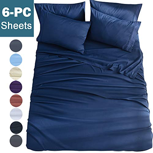 Shilucheng King Size 6-Piece Bed Sheets Set Microfiber 1800 Thread Count Percale 16 Inch Deep Pockets Super Soft and Comforterble Wrinkle Fade and Hypoallergenic(King,Navy Blue) (Bedding Size Sale Sets King)
