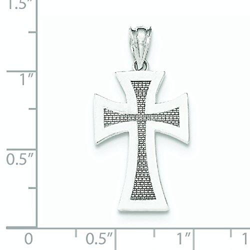 Or blanc poli 14 carats-Pendentif croix JewelryWeb