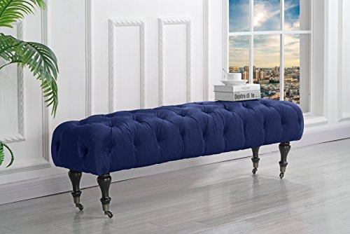 Classic Tufted Velvet Bedroom Vanity Bench with Casters (Navy) (Blue Dresser Bedroom Furniture Navy)