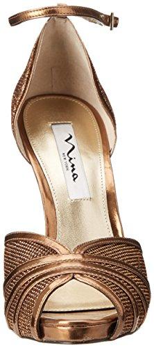 Nina Womens Eliane YY Dress Sandal Chocolate/Metallic