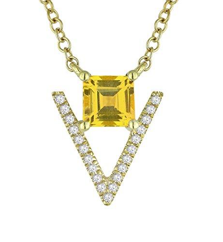 - 14K Yellow Gold Princess Shape Citrine and Diamond Pendant