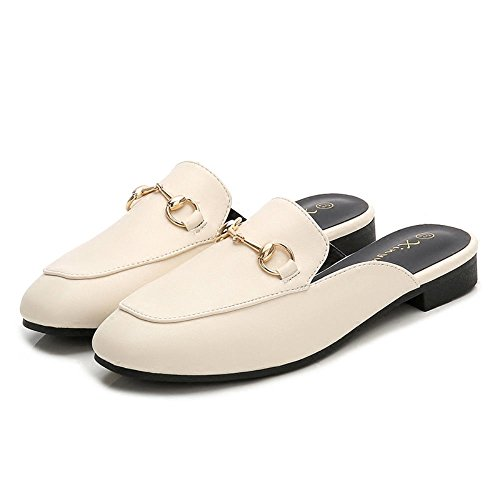 Zapatillas Baotou Semi Zapatillas Inferiores Planas para Mujer Ropa de Verano Sin Zapatos Zapatillas Muller Arroz Blanco