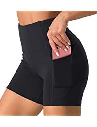 High Waist Yoga Shorts for Women with 2 Side Pockets Tummy Control Running Home Workout Shorts