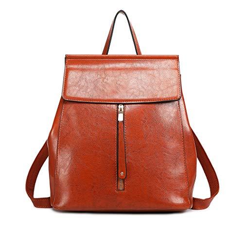 (Miss Lulu Backpacks for Women Girls School Bags Fashion Saffiano Pu Leather Drawstring Daypack Shoulder Bag (6833 Brown))