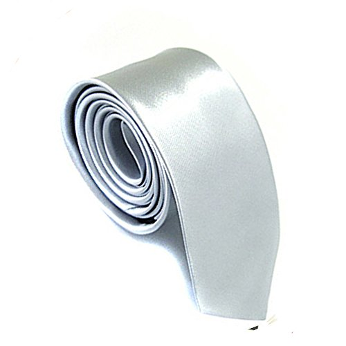 Mens Plain Color 100% Polyester Skinny Necktie Used for Business Formal Occasions Silver
