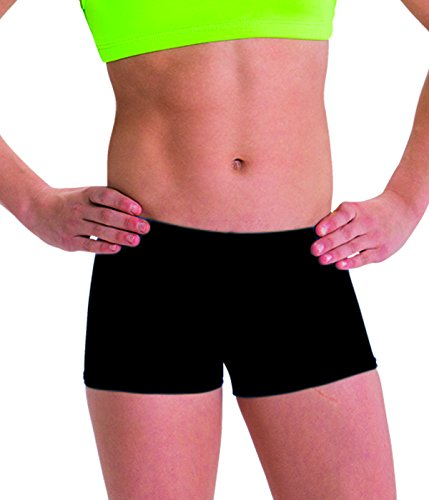 Motionwear Perfect Active Gymnastics Low Rise Shorts, Black, Small Adult