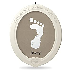 Hallmark Keepsake 2017 Little Feet, Big Blessing Baby's Footprint Porcelain Dated Christmas Ornament Kit