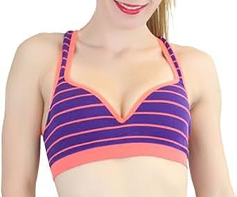 ToBeInStyle Women's Contrast Striped Sports Bras - Purple & Orange - Small