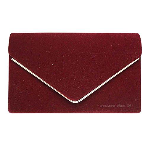 Velvet Bag Handbag Clutch Burgundy Wocharm Purse Womens Ladies Shoulder Party Lavish Envelope Suede Wedding Prom Bag w77p6qRI