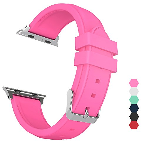 Sxciw Apple Watch Band, Silicone Stitching Replacement Sports Strap for iWatch (barbie pink, 42mm)