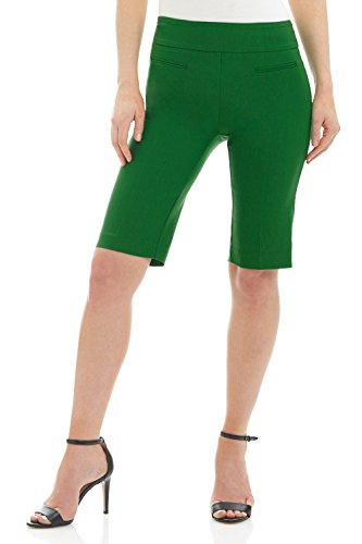 (Rekucci Women's Ease in to Comfort Fit Pull-On Modern City Shorts (4,Jungle Green))
