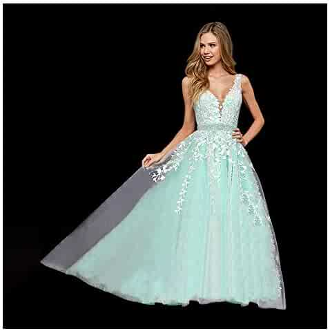 b8459b1a4ed2 Abaowedding Women's Wedding Dress for Bride Lace Applique Evening Dress V  Neck Straps Ball Gowns
