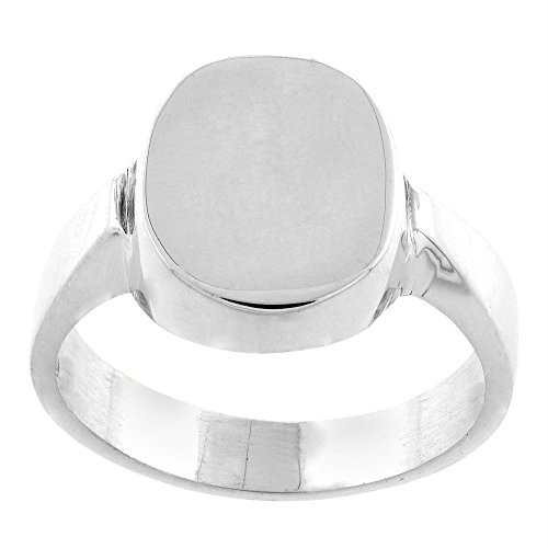 Sterling Silver Signet Ring for Men Oval Solid Back Handmade.5 inch, size 13